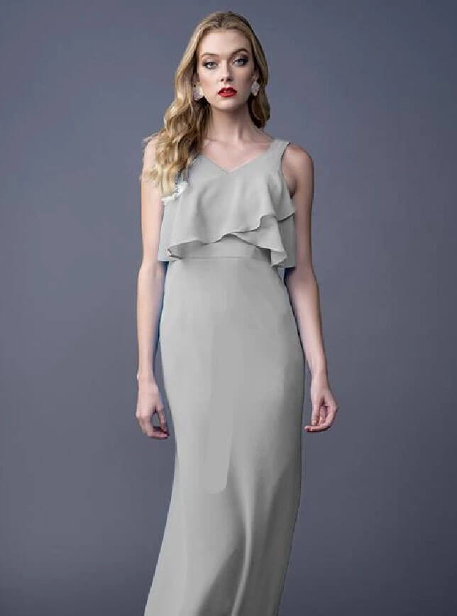 Photo of bridesmaid wearing a light gray dress